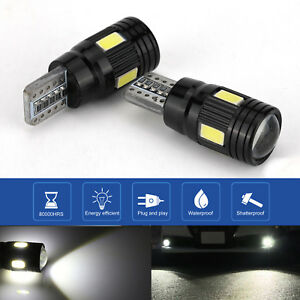 2Pcs Canbus T10 LED Light 5730 6SMD Error Free 12V Bulbs W5W 168 194 Lens 6000K