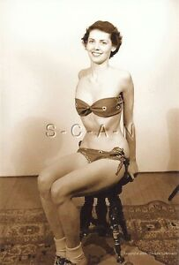 1940s-60s (4 x 6) SEPIA Repro Semi Nude Pinup RP- Happy