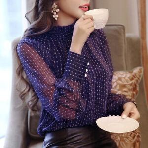 Fashion-Women-Chiffon-Blouse-Long-Sleeve-Casual-Tops-Ladies-Office-Shirts
