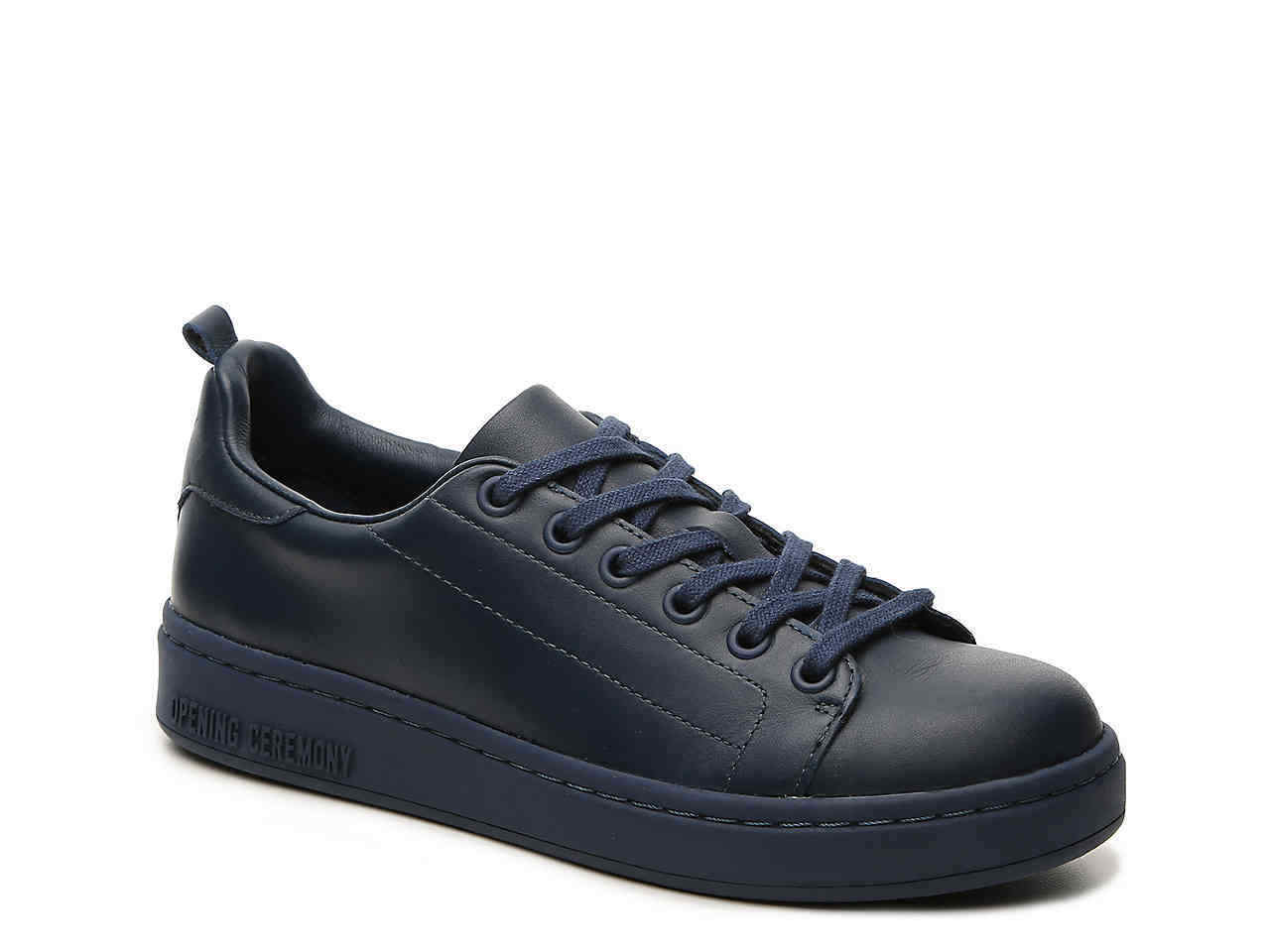 229 NWT OPENING CEREMONY blueL Low Top lace-Up LEATHER SNEAKERS Sz 5 NAVY blueE