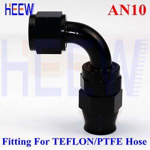 90 Degree Aluminum 4AN Female to 4AN Fuel Hose End Fitting Adapter One-Piece Full Flow PTFE Swivel Pipe Connector for Teflon Hose Anodized Black