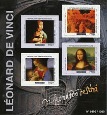 Central African Rep 2015 MNH Leonardo Da Vinci 4v M/S Art Paintings Mona Lisa