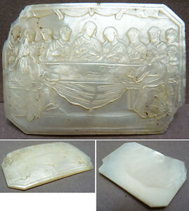 Le-Christ-La-Cene-Plaque-de-nacre-gravee-vers-1860-Napoleon-III-mother-of-pearl