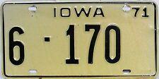 Iowa  License Plate,  Original Kennzeichen USA   6 170  ORIGINALSCAN