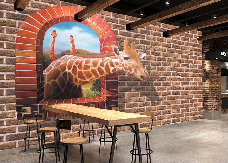 3D spot giraffe Wall Paper wall Print Decal Wall Deco Indoor wall Mural