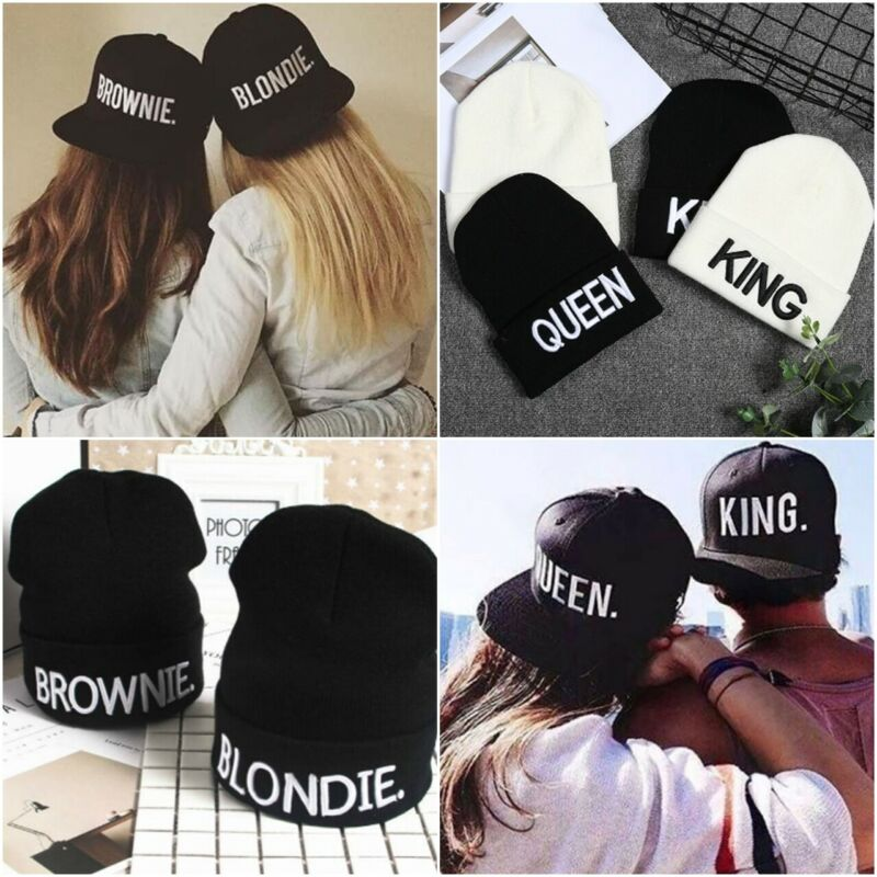 Acexpress Snapback Cap Kappe Basecap Mütze King Queen Blondie Brownie Weiss Gold