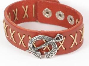 Tara Viking Leather Bracelet Wristband With A Viking Pewter Tara