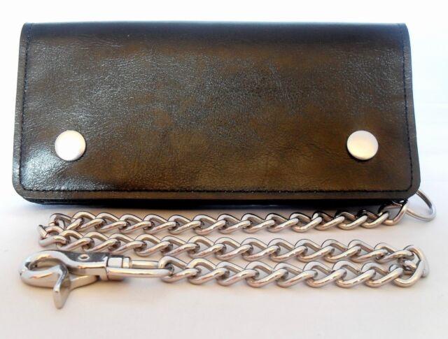Leather Motorcycle Trucker Biker Chain Wallet With Inside Zipper Black New