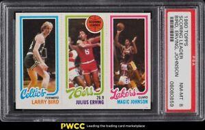 1980 Topps Basketball Larry Bird & Magic Johnson ROOKIE RC PSA 8 NM-MT
