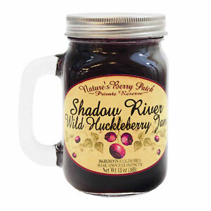Shadow River Wild Huckleberry Gourmet Jam 13 oz Preserves Jar Mug with Handle