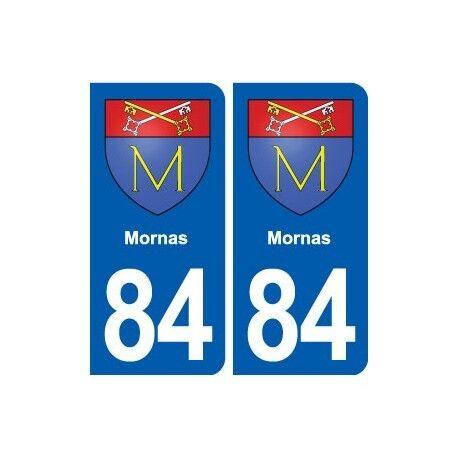 84 Mornas blason autocollant plaque stickers ville arrondis
