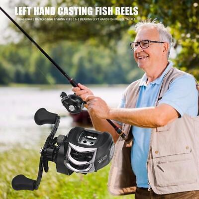 Lizard 17+1 Ball Bearings Baitcasting Reel Fishing Wheel 7.1:1 Left//Right Hand