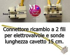 Connettore 2 fili elettrovalvole sonde cavetto 15cm. lavatrice lavastoviglie ecc