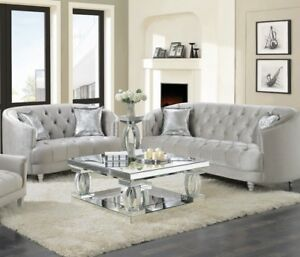 Details about Modern Glam Living Room 2-Piece Sofa Loveseat Couch Set  Silver Velvet