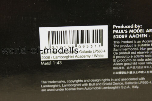 Minichamps 436103801 Lamborghini Gallardo LP 560-4 weiß  2008   1:43 NEU in  OVP