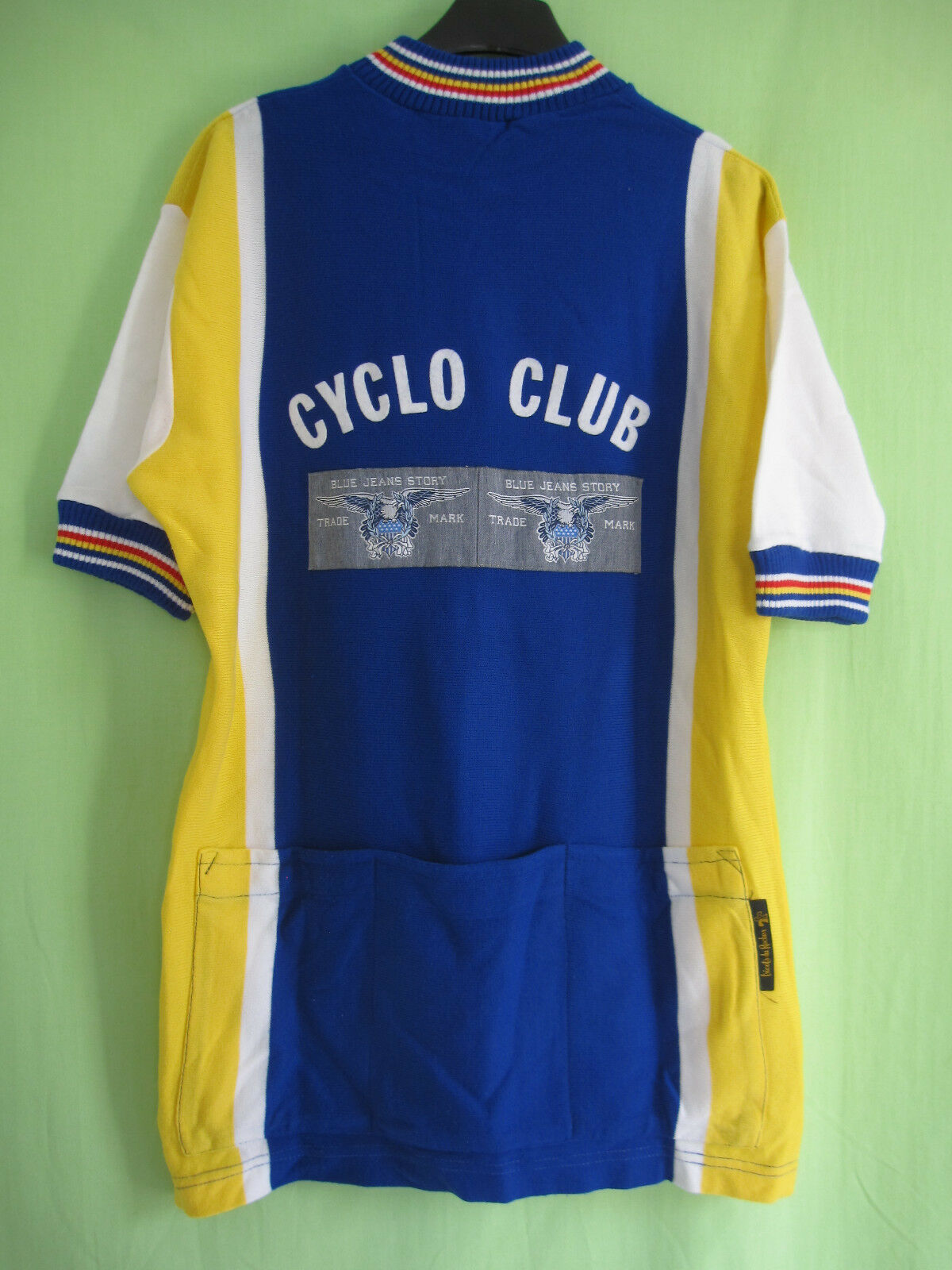 Maillot Cycliste bluee Jeans Cyclo Club vintage 70'S acrylique Jersey - 4   L