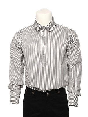 Cool White Black Strips Cotton Long Sleeves Steampunk vintage shirts For Men