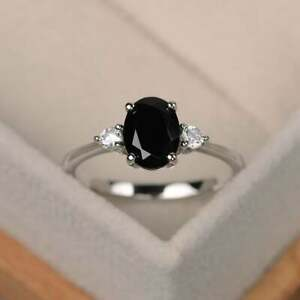 925-Sterling-Silver-Natural-Certified-7-Ct-Black-Spinel-Handmade-Solitaire-Ring