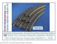 EE 5000 Good Marklin HO 3R  3 Rail Curve Track 6 ea 3600A1/1 Standard Curve