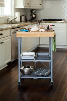 Kitchen Small Folding 3 Shelf Island Utility Cart Metal Silver Butcher Block To