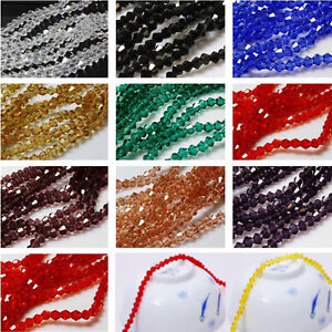 Lots-Faceted-Bicone-Crystal-Clear-Glass-Loose-Spacer-Beads-Charm-Finding-4-6-8MM