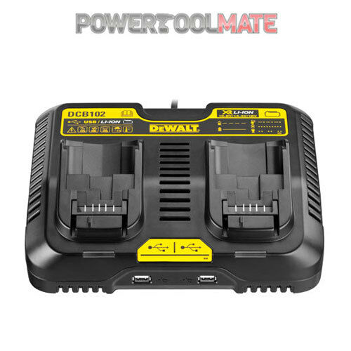 Dewalt DCB102 XR 10.8V - 18V Dual Port Charger With USB