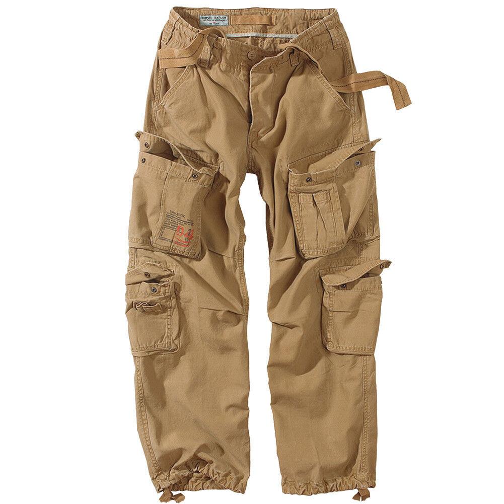 Surplus Vintage Mens Airborne Combat Trousers Cargo Work Wear Army Pants Coyote