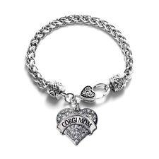 Inspired Silver Corgi Mom Pave Heart Charm Bracelet