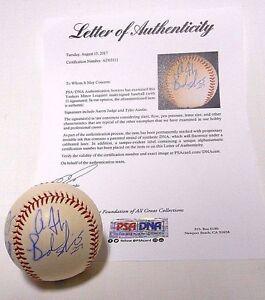 PSA Aaron Judge Brandon Nimmo Tyler Austin Signed Autographed Baseball Ball