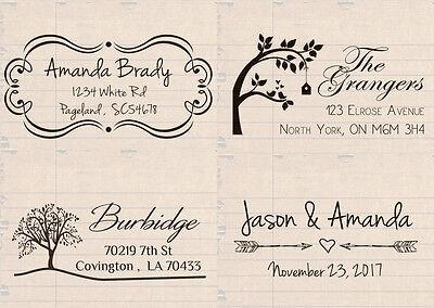 "custom name self inking wedding family business return address rubber stamp 2"""