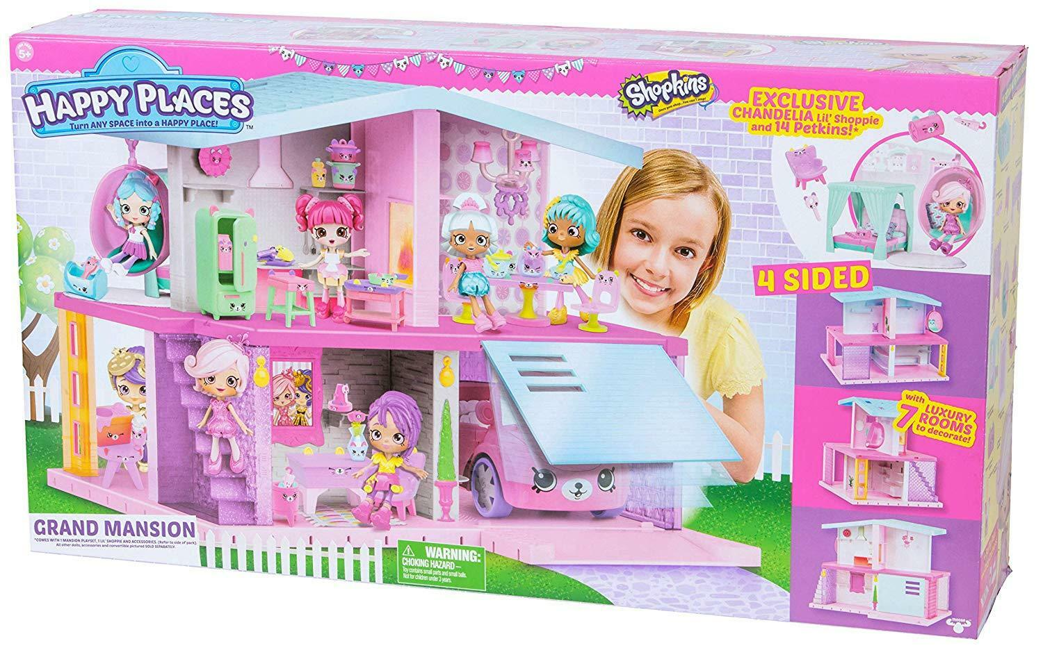 NEW Happy Places Shopkins Grand Mansion Playset House Christmas Birthday Gift