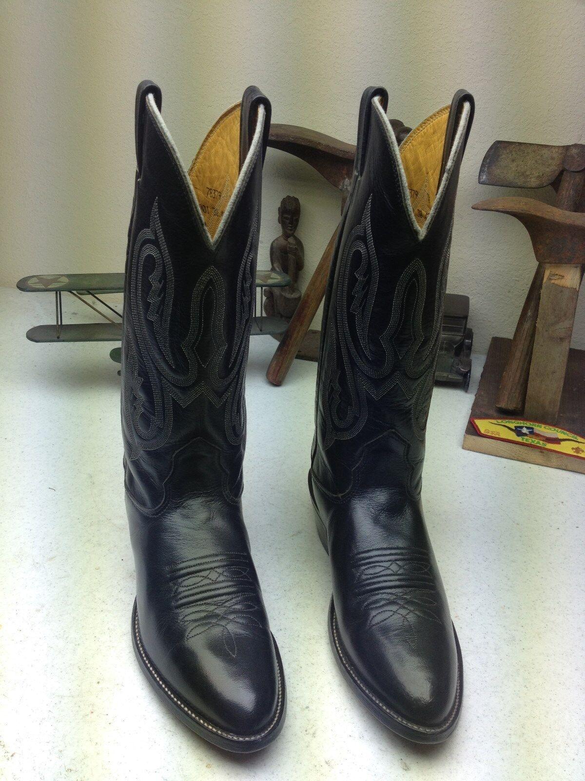MADE IN USA NOCONA BLACK LEATHER WESTERN WESTERN WESTERN COWBOY ROCKABILLY DANCE BOOTS 7.5  B 9eb582