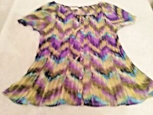 Womens-Cato-size-L-Purple-multi-color-Pleated-Top-Short-Sleeve-Blouse