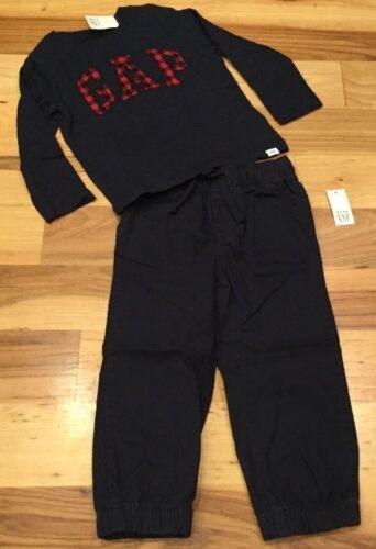 Baby Gap Boys 3 Nwt 3T Outfit Navy Blue Plaid Logo Shirt /& Navy Blue Pants
