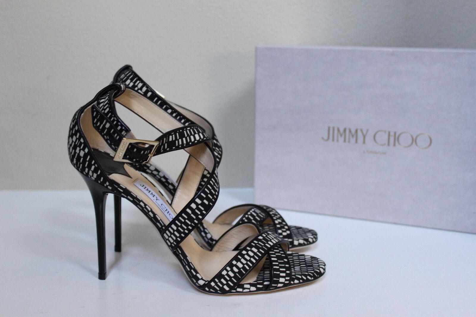 New sz 10   40 Jimmy Choo Lottie Black White Textured Open Toe Ankle Sandal shoes