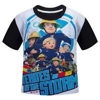 Kids Boys Fireman Sam Cartoon Short Sleeve Clothing Summer T-Shirts