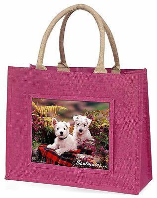 West Highland Terrier Hunde Soulmates Große Rosa Einkaufstasche Chris,