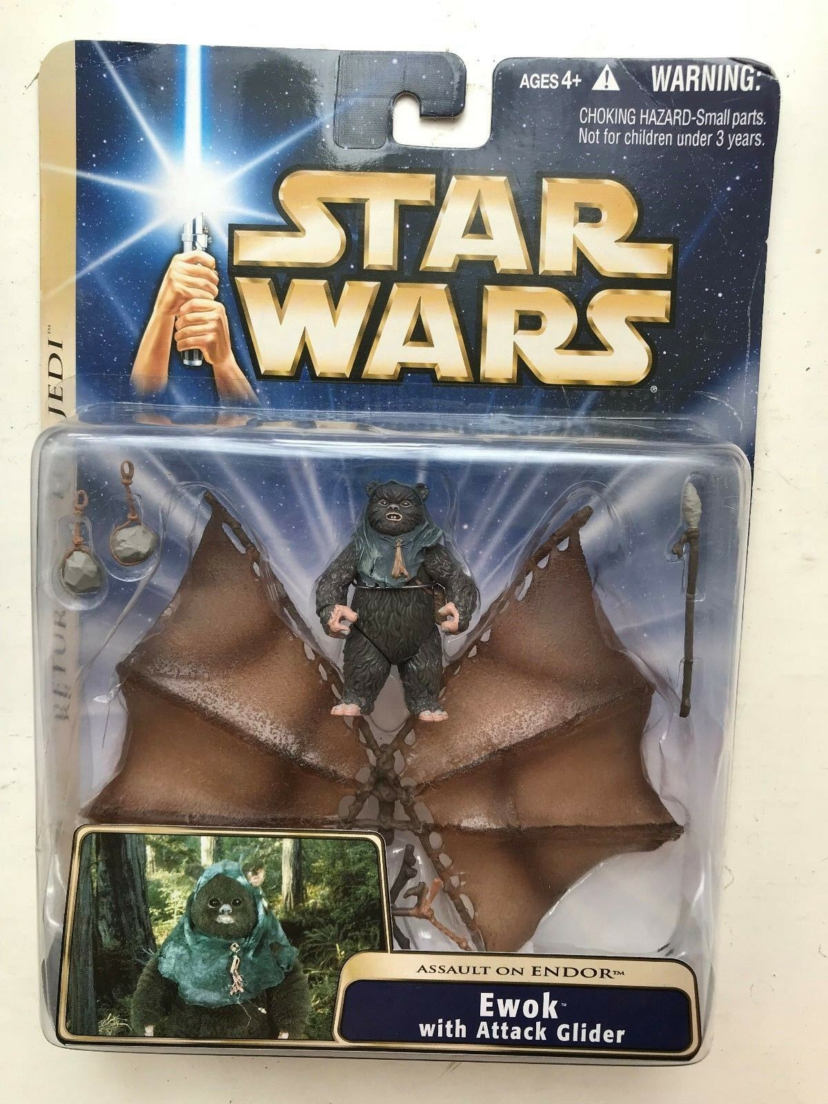 STAR WARS RETURN OF THE JEDI SERIES EWOK WITH ATTACK GLIDER FIGURE HASBRO
