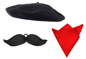Red Beret /& Red Bandana /& Mustache Fancy Dress French Set Costume Accessories Se