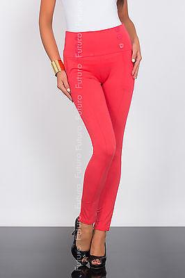 Women's High Waist Chino Trousers Stretch Pants Leggings Sizes UK 8-18 1052