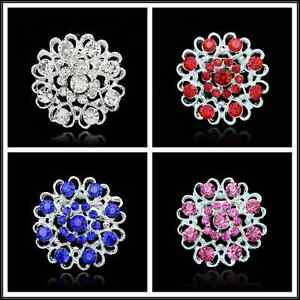 Details about 4Colors Wedding Bridal Heart Rhinestone crystal brooches  silver brooch pin Decor