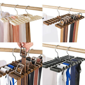10-Hole Rotating Tie Scarf Belt Rack Hanger Storage Space Saver Closet Organizer