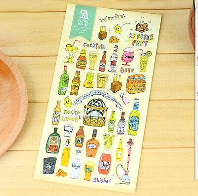 Beer Alcohol Spirit Wine Whisky Sticker Scrapbook card DIY gift Diary Sweet