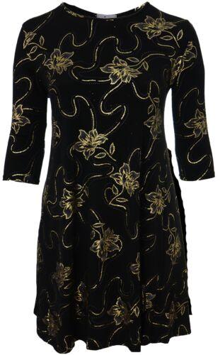 Ladies New Praslin Dress Black Gold Floral Glitter Print Ladies Plus Size Bnwt