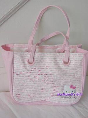 New Sanrio Monogram Print Hello Kitty Hand Bag Cotton Blue Handbag