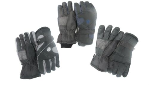 Mens Thinsulate Padded Winter Ski Gloves With Palm Grips Black,Navy,Grey M-L-XL