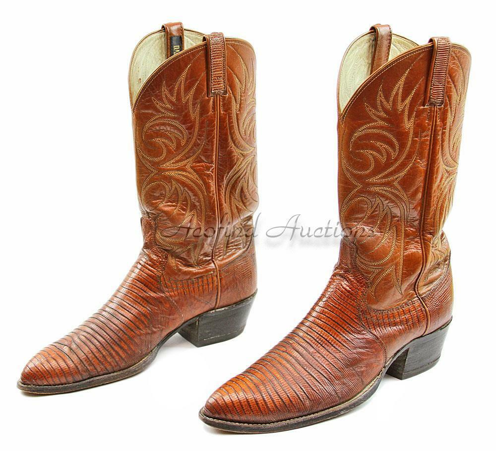 Vintage Western  DAN POST  Men's Size 10 1 2 D Tan Lizzard Skin Cowboy Boots