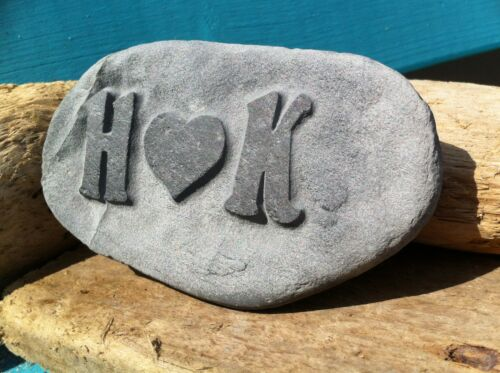 Personalised Love Pebble, hand carved, ideal beach wedding anniversary gift