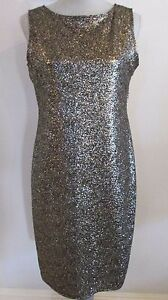 NWT-ONYX-NITE-BLACK-amp-GOLD-METALLIC-SPARKLE-SLEEVELESS-COCKTAIL-DRESS