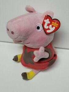 "Ty Beanie Peppa Pig Muddy Puddles New MWMT 6"" 15cm +1 free 1998 series 1 card"